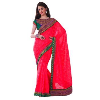 Hypnotex Net Jacquard Pink Color Designer Saree Gulabi159