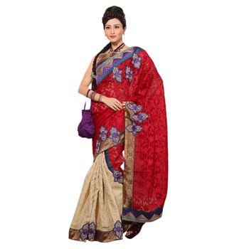 Hypnotex Super Coat Cotton Silk and Net Jacquard Maroon and Cream Color Designer Saree Richee8164A
