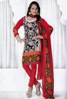 Elegant Spun Cotton Designer Unstitched Salwar Suit D.No 3091