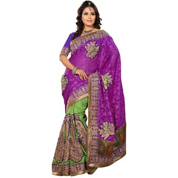 Hypnotex Manipuri Skirt and Net Jacquard Pink and Green Color Designer Saree Richee9054B