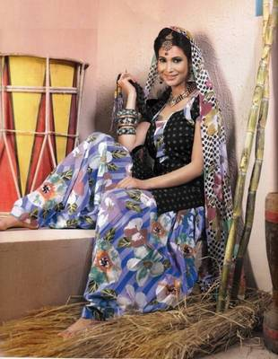 Elegant Lawn Cotton Designer Unstitched Salwar Suit With Chiffon Dupatta D.No BPK1008
