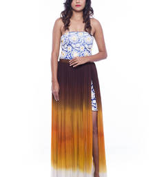 Buy Blue lace top and brown ombre georgette skirt skirt online