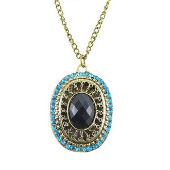 """DIOVANNI """"Eye of the Peacock"""" Statement Necklace in Onyx Black Stone and Turquoise Blue Diamonds"""