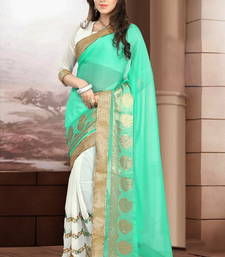 Buy Light green and White embroidered georgette Saree with blouse brasso-saree online