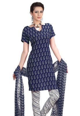 Fabdeal Blue & White French Crepe Dress Material