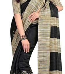 Buy Black printed cotton silk Saree with blouse bhagalpuri-silk-saree online