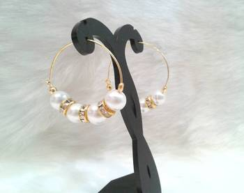 Very pretty casual wear PEARL  beads cz hoops style earring pair