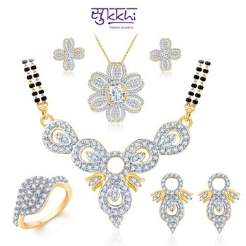Sukkhi Marquise Motif Gold & Rhodium Plated CZ jewellery-combo