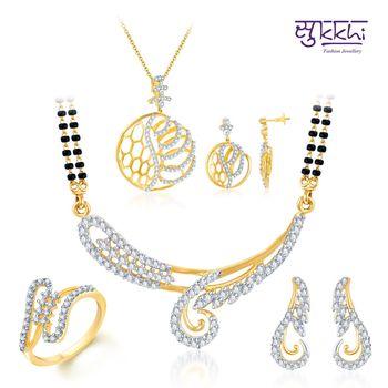 Sukkhi Exquisite Gold & Rhodium Plated CZ jewellery-combo