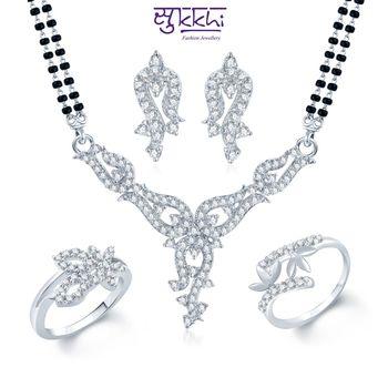 Sukkhi Glamorous Rhodium Plated CZ jewellery-combo