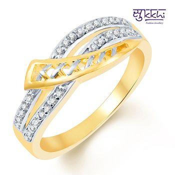 Sukkhi Classy Two Tone CZ Studded Ring