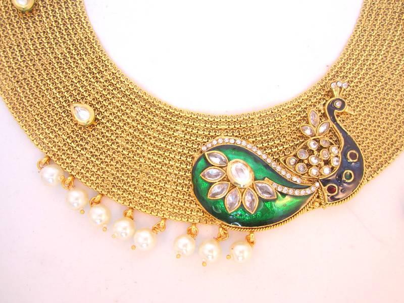 Buy Beautiful Peacock design GOLD broad choker necklace Jhumka ...