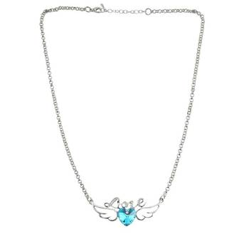 """DIOVANNI """"Love Flies on Angel Wings"""" in Authentic Aquamarine Tone Heart Crystal on Metal Alloy Silver Chain"""