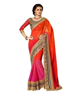 Orange embroidered georgette Saree
