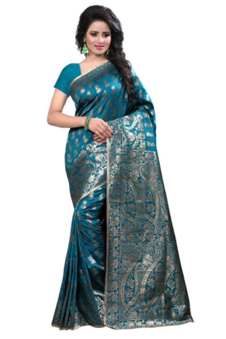Buy Turquoise Plain Banarasi Silk Saree With Blouse Online