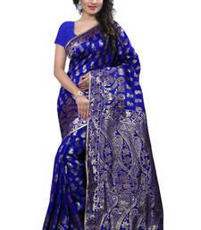 Buy Blue plain Banarasi Silk saree with blouse traditional-saree online