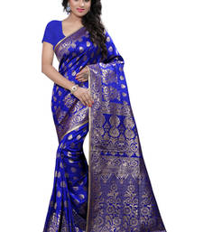 Buy Blue plain Banarasi Silk saree with blouse black-friday-deal-sale online