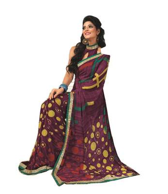 Bollywood Designer Weightless Georgette Saree With Elegant Border & Blouse Piece 4021A