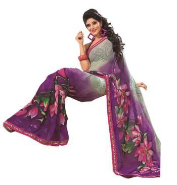 Bollywood Designer Weightless Georgette Saree With Elegant Border & Blouse Piece 4024B