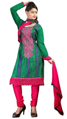 Triveni Green Chanderi Silk Embroidered Salwar Kameez - TSMESK17582