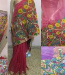 Buy Pink hand woven chanderi kalamkari saree with blouse kalamkari-saree online