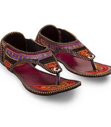 Buy multicolor Synthetic Leather wedding wear traditional footwear for women eid-footwear online