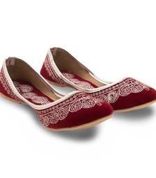 Buy Maroon Velvet party wear traditional footwear for women footwear online