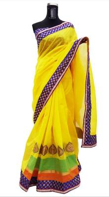 Neon Yellow - Cotton-Silk Saree