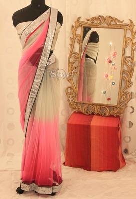 Pink Grey Shaded Saree