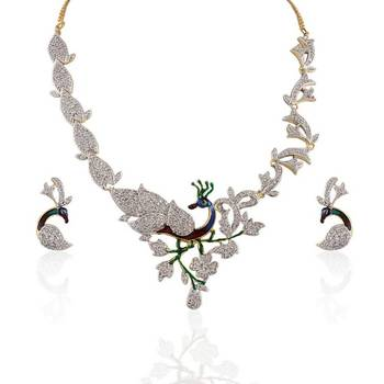 Heena Enamel multicolour peacock type necklace set >> HJNL2 <<