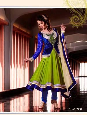 Parrot Green and Blue Faux Georgette Anarkali Churidar Kameez