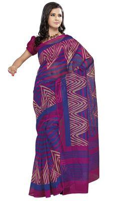 Triveni Blue Super Net Bollywood Printed Saree TSSA953a