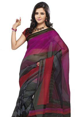 Triveni Grey Super Net Bollywood Printed Saree TSSA961b
