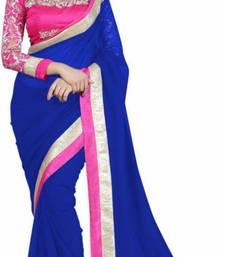Buy blue embroidered chiffon saree with blouse chiffon-saree online