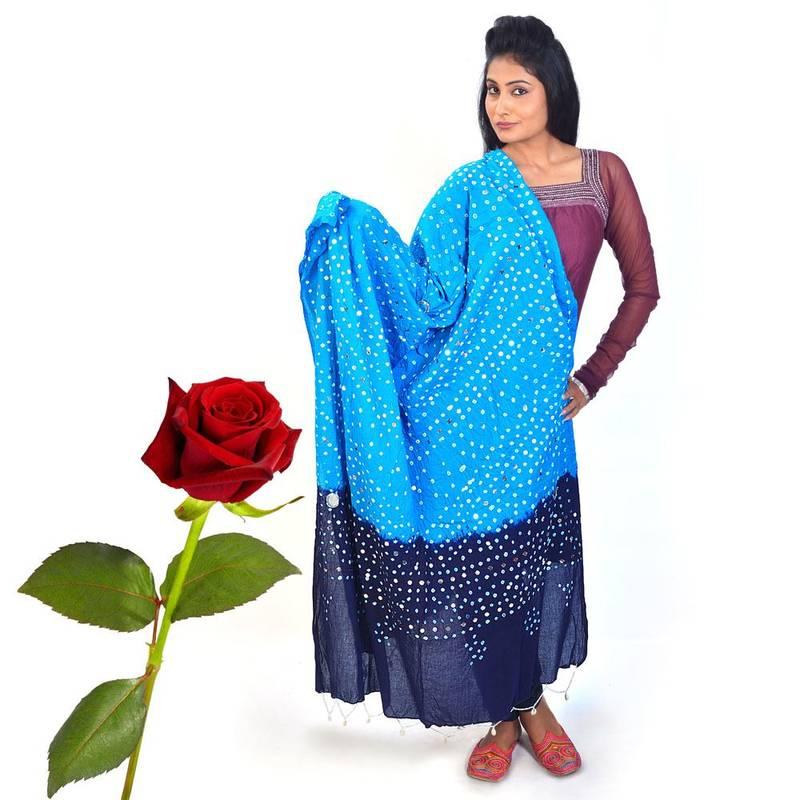 Buy tie n dye shell work cotton dupatta valentine gift online for Order tie dye roses online