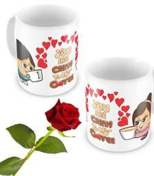 Buy Cute Boy Girl Design Coffee Mugs Pair N Rose Gift Online