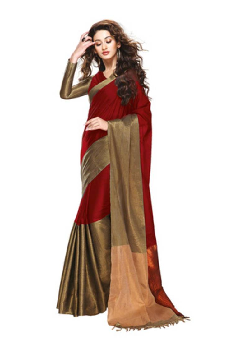 Buy Red And Gold Printed Cotton Saree With Blouse Online