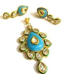 Buy turquoise kundan pendant set Pendant online
