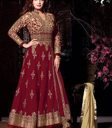 Buy Red georgette embroidered semi stitched salwar with dupatta semi-stitched-salwar-suit online