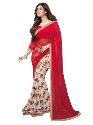 Red and Cream printed synthetic georgette saree with blouse