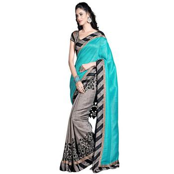 Firozi printed art_silk saree with blouse