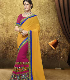 Buy Red and yellow embroidered georgette saree with blouse party-wear-saree online
