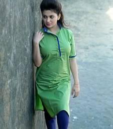 Buy Green cotton plain kurti kurtis-below-250 online