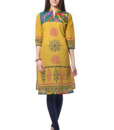 Buy Yellow Block Print Cotton Kurti long-kurti online