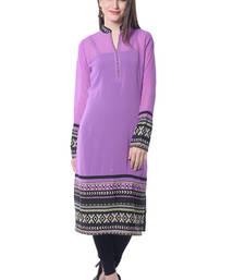 Buy Purple Solid Georgette Kurti long-kurti online