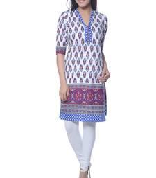 Buy White Printed Cotton kurti long-kurti online