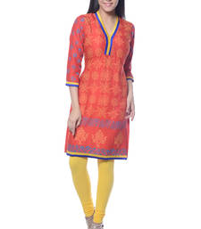Buy Orange Block Print Rayon kurti long-kurti online