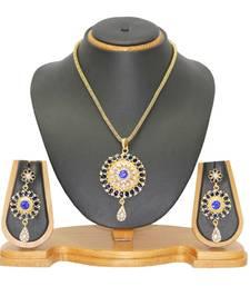 Buy Blue kundan Pendant set jewellery Pendant online