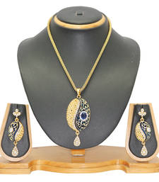 Buy Jewellery Diamond Studded Alloy Pendant Set Pendant online