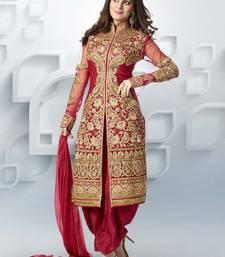 Buy red embroidered georgette semi stitched salwar with dupatta anarkali-salwar-kameez online